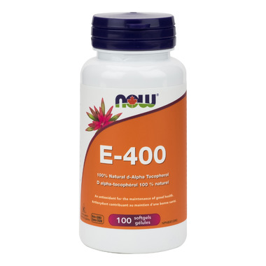 NOW Foods E-400 100% Natural d-Alpha Tocopheryl