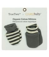 True Two x L'ovedbaby Organic Cotton Mittens Gray Beige Stripe