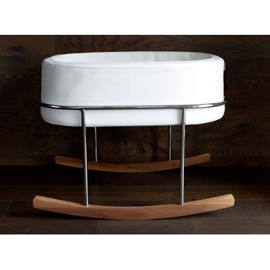 Monte Design Rockwell Bassinet White Basket & Walnut Base