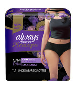 Always Discreet Boutique Low-Rise Postpartum Incontinence Underwear Black