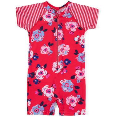 nano One-Piece Rashguard Swimsuit Girlie Red 9-24M