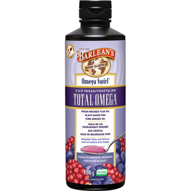 Barlean\'s Total Omega Vegan Swirl Pomegranate Blueberry