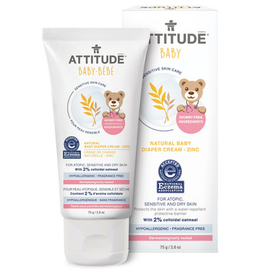 ATTITUDE Natural Baby Diaper Cream with Zinc