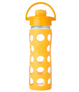 Lifefactory Glass Bottle Collegiate Yellow Flip Cap & Silicone Sleeve