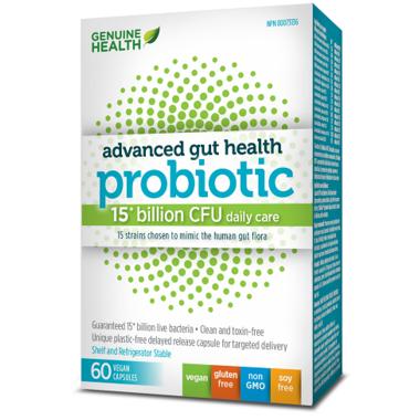 Genuine Health Advanced Gut Health Probiotic 15 Billion CFUs