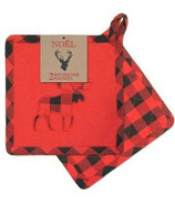 Domay Buffalo Check Moose Pot Holder Set