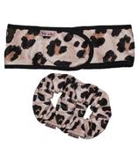 kitsch Leopard Microfibre Scrunchie and Headband Bundle