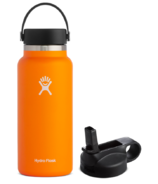 Hydro Flask Wide Mouth with Flex Cap Clementine + Straw Lid Bundle