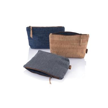 bambu Organic Cotton Stripe Zip Pouch Large