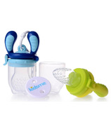 Kidsme Food Feeder Starter Pack with Holder in Lime & Aquamarine