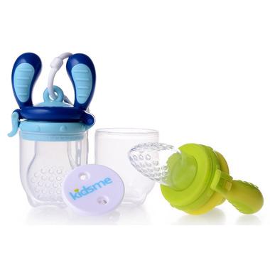 Kidsme Food Feeder Starter Pack with Holder in Lime & Aquamarine