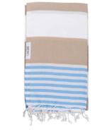Lualoha Turkish Towel Striped Goodness Sand & Sky Blue