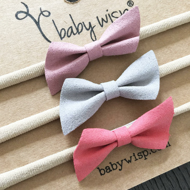Baby Wisp 3 Angled Faux Suede HeadBand Set Rose, Grey and Coral