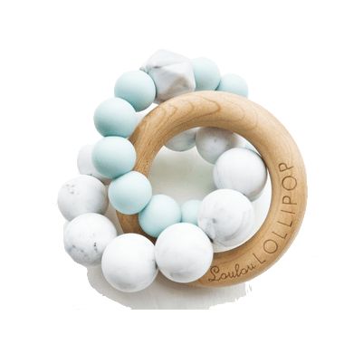Loulou Lollipop Trinity Wood & Silicone Teether Robin\'s Egg Blue
