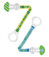 Mam Double Pacifier Clip Green Print
