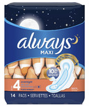 Always Maxi Overnight Pads with Wings
