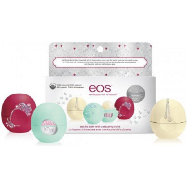 eos Limited Edition Lip Balm Trio with DIY Decorative Jeweled Stickers