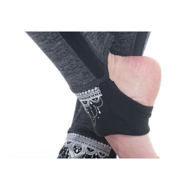 Gaiam Avalon Foldover Legging Charcoal Heather Black Trim & Placement Print