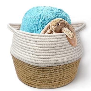 Natural Living Cotton Basket White/Natural Jute