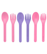 OmieLife Fork & Spoon Set Pink and Purple