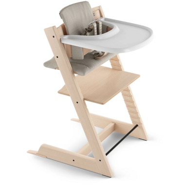 Stokke Tripp Trapp High Chair Complete Natural with Grey Cushion and Tray