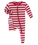 Kickee Pants Print Footie with Zipper Candy Cane Stripe