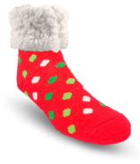 Pudus Classic Slipper Sock Red Poka Dot