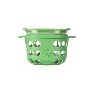 Lifefactory 2 Cup Glass Food Storage with Green Grass Silicone Sleeve