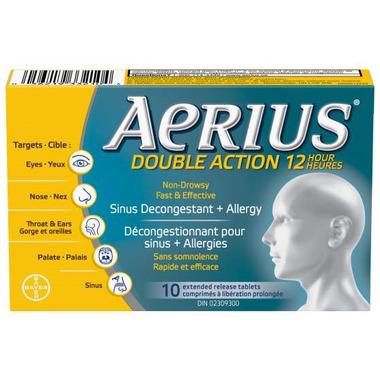 Aerius Dual Action 12 Hour Non-Drowsy Allergy+Sinus