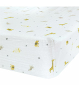 Perlimpinpin Cotton Muslin Fitted Crib Sheet Safari