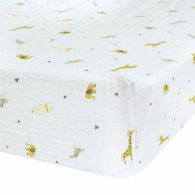 Perlimpinpin Cotton Muslin Fitted Crib Sheet Safari