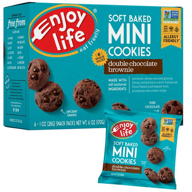 Enjoy Life Mini Soft Baked Double Chocolate Brownie Cookie Snack Packs
