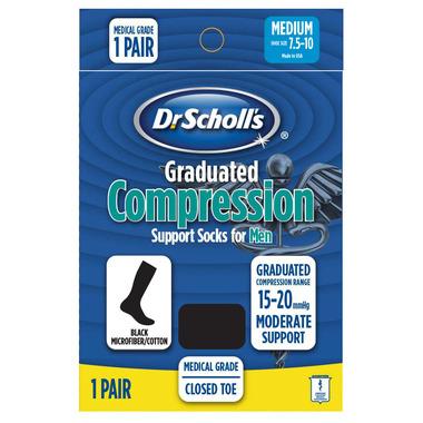 Dr. Scholl\'s Black Graduated Compression Support Socks for Men