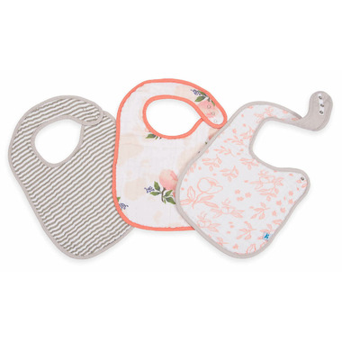 Little Unicorn Cotton Muslin Classic Bib Set Watercolour Rose