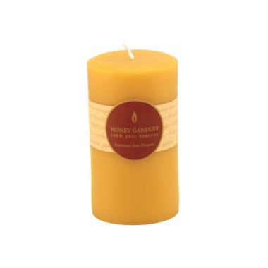 Honey Candles Pure Beeswax 5-inch x 3-inch Pillar Candle Natural