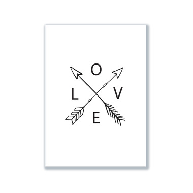 mavisBLUE Arrow Love White 5x7