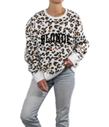 BRUNETTE The Label BLONDE Step Sister Crew White Leopard with Flocking