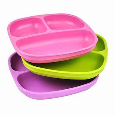 Re-Play Divided Plates Butterfly Bright Pink, Lime Green and Purple