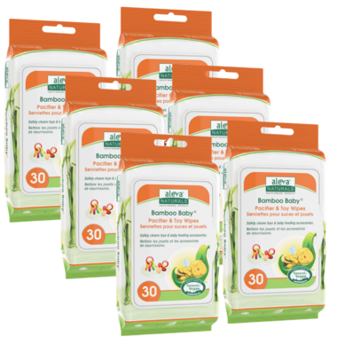 Aleva Naturals Bamboo Baby Pacifier & Toy Wipes 5 + 1 Pack