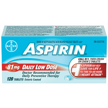 Aspirin 81mg Daily Low Dose Medium Bottle