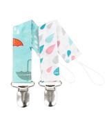 Bumkins Pacifier Clip Raindrops and Umbrella