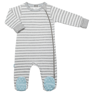 Kushies Side Zip Sleeper Light Grey Stripes & Blue