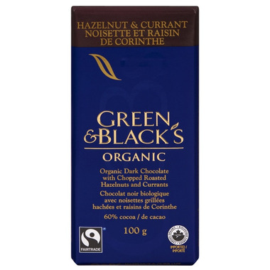 Green & Black\'s Organic Dark Chocolate Hazelnut & Currant Bar