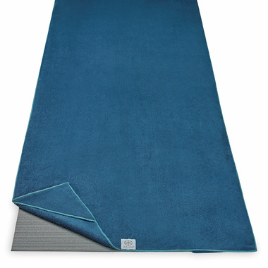 Gaiam Stay-Put Yoga Mat Towel Blue with Light Blue Trim