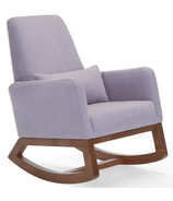 Monte Design Joya Rocker Natural Cotton Linen Blend & Walnut Base