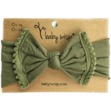 Baby Wisp Pom Pom Trim Headband Olive