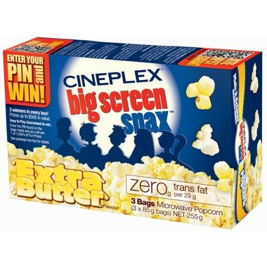 Cineplex Big Screen Snax Extra Butter Microwave Popcorn