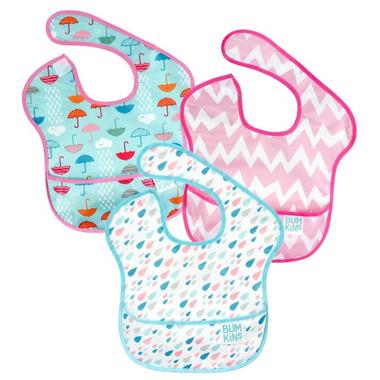 Bumkins SuperBib Rain Drops, Pink Chevron & Umbrella