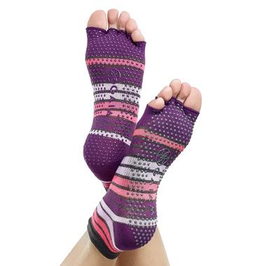 Gaiam No-Slip Toeless Yoga Socks Size S/M in Pink & Purple