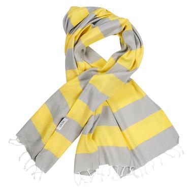 Lualoha Turkish Towel Buddhaful Light Grey & Yellow